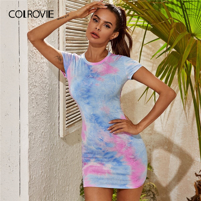 COLROVIE Multicolor Tie Dye Form Fitted Dress Women Short Sleeve Bodycon Mini Dress 2020 Summer Casual Pencil Dresses