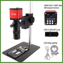 Monocular-Microscope-Sets Led-Ring-Light Repair-Phone Digital HDMI Professional 130X