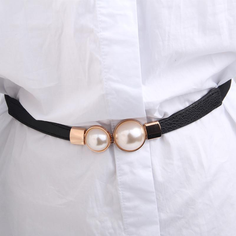 1 Pc Branded   Belts   with Pearls Fashion Women Elastic Waist   Belts   Newest Covered Button Thin PU Leather   Belt   Dresses Decoration