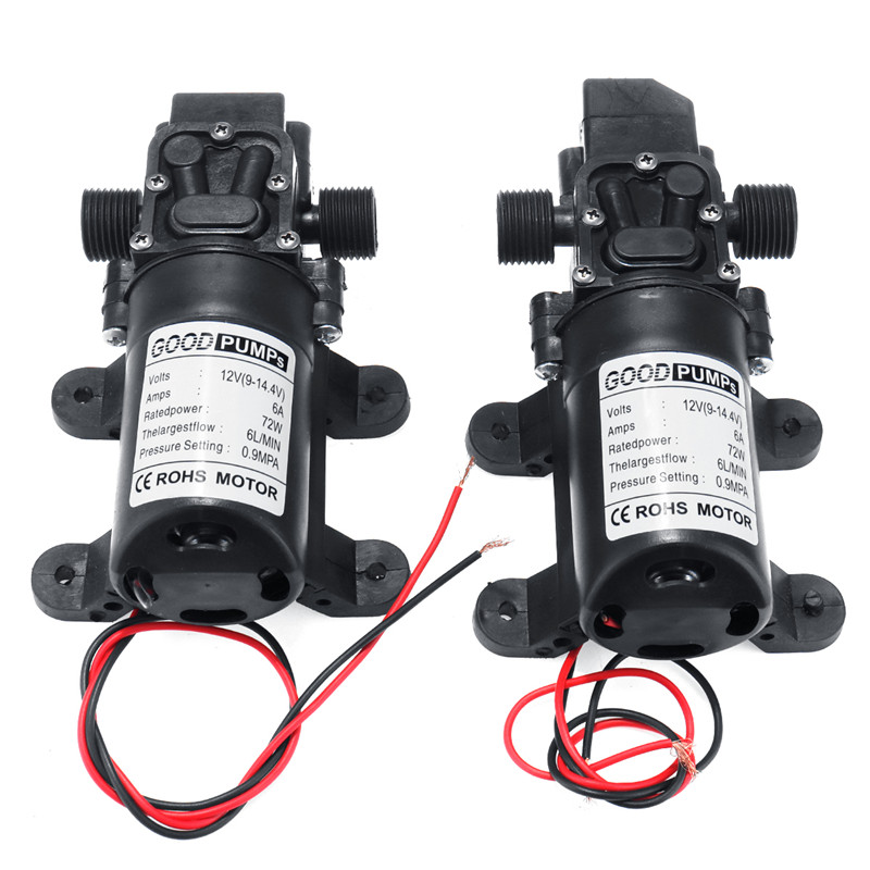 DC 12V 130PSI 6L/min Electric Water Pump Black Micro High Pressure Diaphragm Water Pump Sprayer Car Wash 12 V