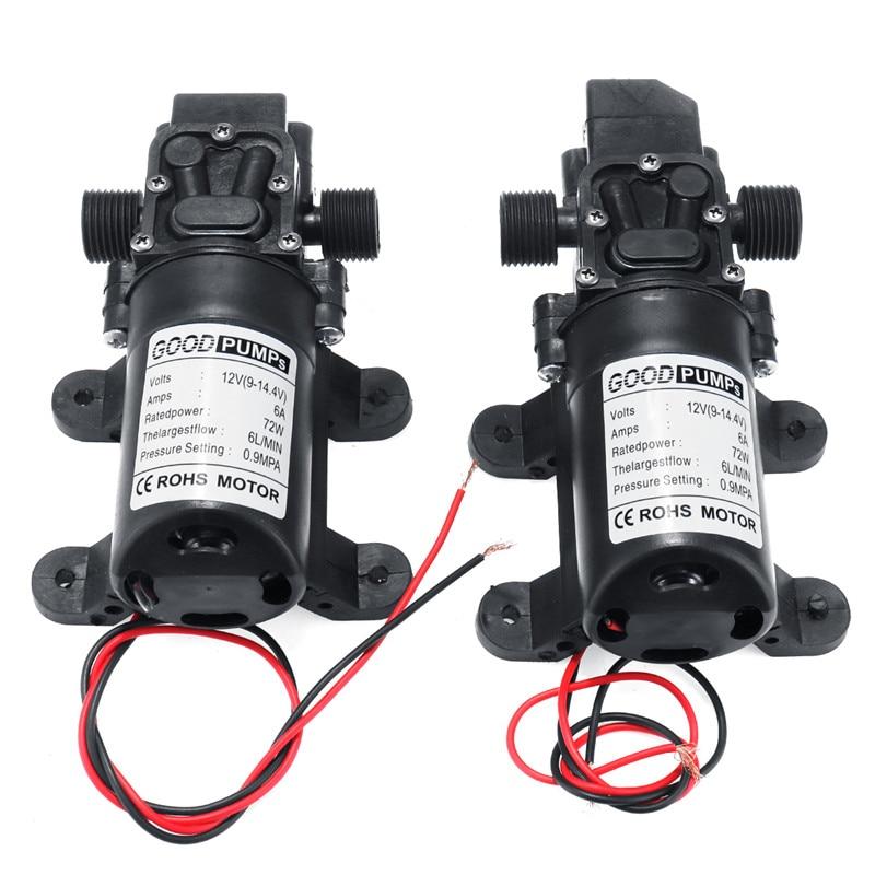 DC 12V 130PSI 6L/min Electric Water Pump Black Micro High Pressure Diaphragm Water Pump Sprayer Car Wash 12 V