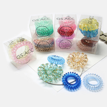 Creative Gradient Color Elastic Japanese Style Telephone Line Hair Ring Small Box Transparent ropes Accessories