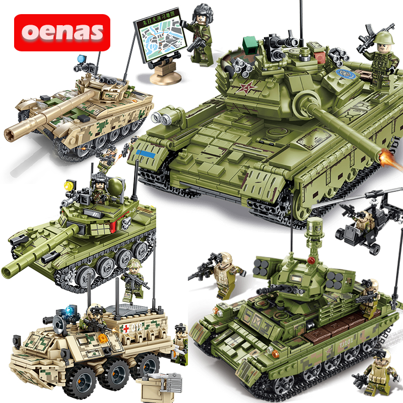 Military WW2 Type 85 59 Main Battle Tank Vehicle Building Block Compatible Legoing Model Bricks Kits Kids Toys Brinquedos Gift