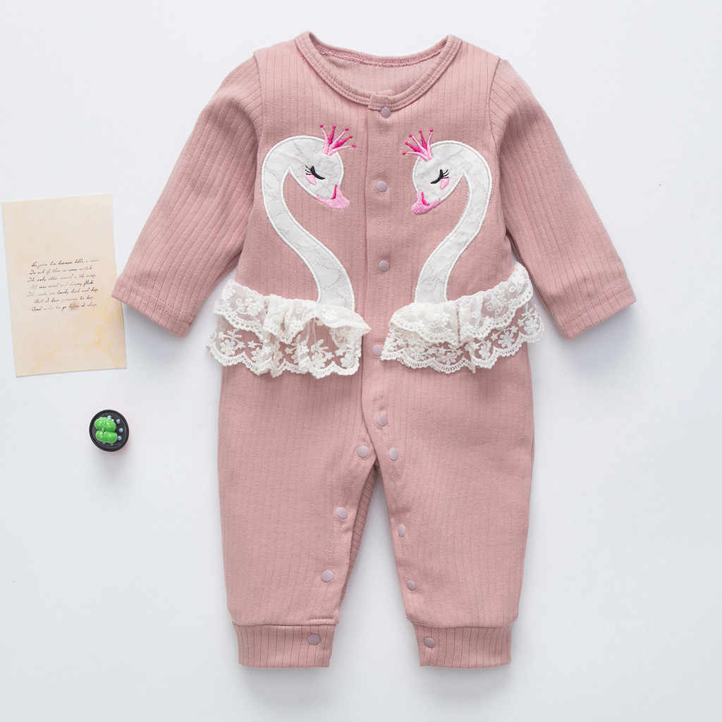 Newborn Jumpsuit Infant Baby Boys Girls Cartoon Swan Romper Outfit Ribbed Baby Clothes Outfit Baby Ciuszki Dla Niemowl T Y2