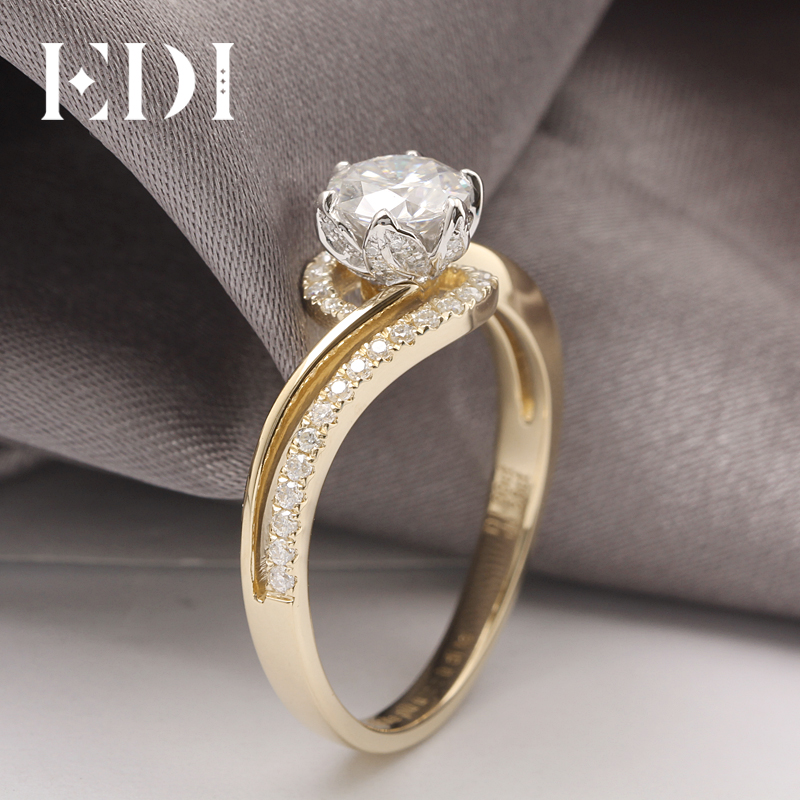 EDI Customized Jewelry Beauty and The Beast Rose Design Engagement Ring 14K Solid Yellow Gold 1CT DEF Moissanite Diamond Accents-in Rings from Jewelry & Accessories    3