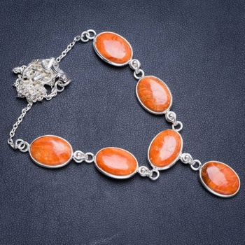 "Natural Orange Calcite Handmade Unique 925 Sterling Silver Necklace17.5+1.25"" Y5304"
