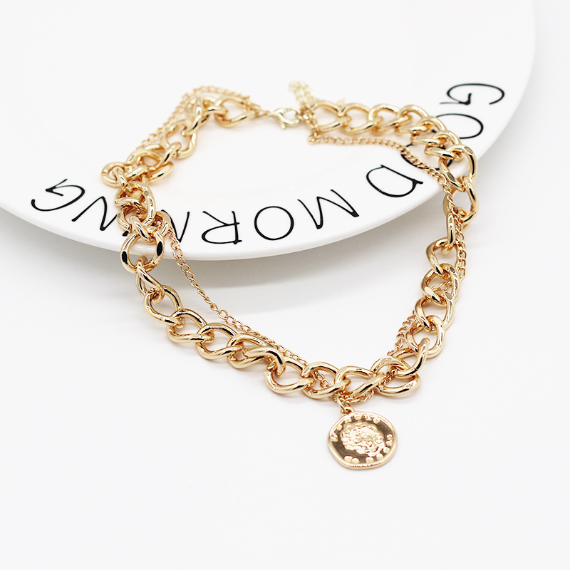Punk Layered Chain Necklace Neck Chains for Women Vintage Exaggerated Golden Hoop Metal Necklace 2021 Clavicle Jewelry