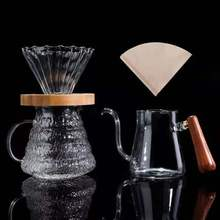 Glass Pointed Coffee Pot Set Hand Punch Pot Thickened Glass Coffee Pot Hanging Ear Pot Pour Coffee Turkish Coffee Pot health raising pot is fully automatic and thickened glass