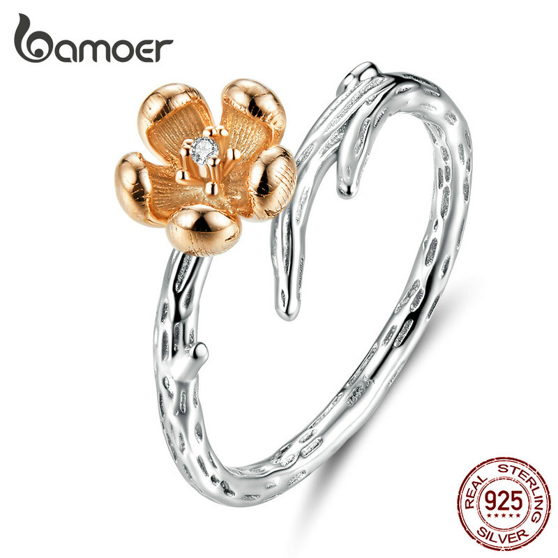 BAMOER Hot Sale Authentic 925 Sterling Silver ladybug with Twisted Tree Leaves Ring for Women Sterling Silver Jewelry SCR308