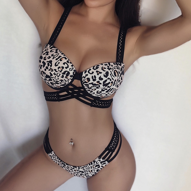 2020 Leopard Print Underwired Bra cup Bikini Push Up Swimsuit Women Swimwear Female V-bar Bikini set Mesh Bandeau Bathing Suit