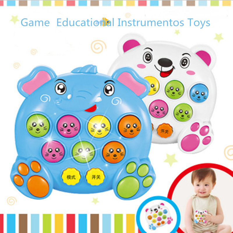 Light Baby Kids Plastic Music Toys Play Knock Hit Hamster Insect Game Playing Fruit Worm Educational Instrumentos Musicais
