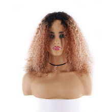 Afro Kinky Curly Lace Wig KEMY HAIR Brazilian Remy Long Human Hair Wigs For Black Women Pre Plucked Hairline U part Lace Wigs(China)
