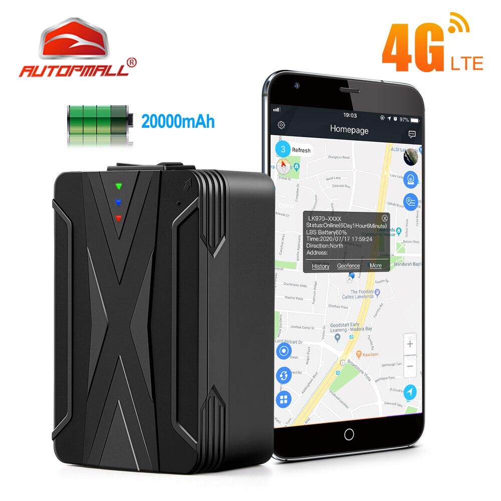 Автомобильный GPS-Трекер 4G, трекер 20000 мАч, 240 дней в режиме ожидания, Магнитный Водонепроницаемый GPS-локатор, вибрирующий сигнал, бесплатное п...