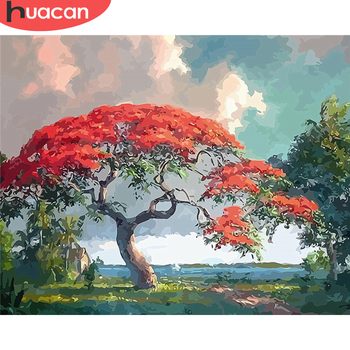 HUACAN DIY Painting By Number Tree Hand Painted Paintings Drawing On Canvas Gift Pictures By Numbers Landscape Kits Home Decor