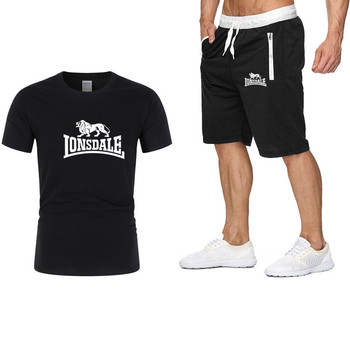 Ανδρικό αθλητικό casual set μπλούζα t-shirt και βερμούδα με στάμπα