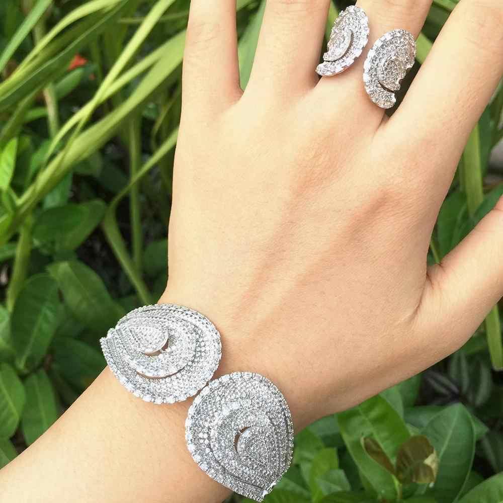 ModemAngel אופנה מותג תכשיטי AAA Zirkonia חתונה נשים שמלת עגיל אופנה תכשיטי צמיד וטבעת סט