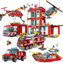 Fire Station Building Blocks Compatible City Firefighter Bricks Truck Helicopter Boat Car  Educational DIY  Toys Classic Bricks привалов и аналитическая геометрия учебник для спо