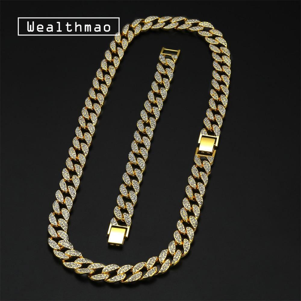 """Hip Hop Iced Chapado en Oro Diamante 14mm 18/"""" 20/' 22/"""" Cadena Collar Tipo Gargantilla cubano"""