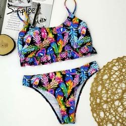 Simplee tropikalne liście drukuj kobieta strój kąpielowy oddzielne dwuczęściowy Bandeau bikini 2020 nowa z falbankami stroje kąpielowe kobiety garnitur biquinis 3