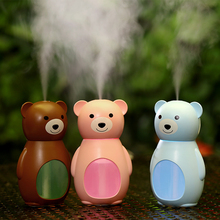 Cartoon Bear USB Air Humidifier Ultrasonic Car Humidifiers with LED Lights Mist Maker Mini Office Desktop Air Purifier 160ml gxz energy bottle usb ultrasonic humidifier 1200mah battery led lights air humidifiers mist maker mini home cup air purifier