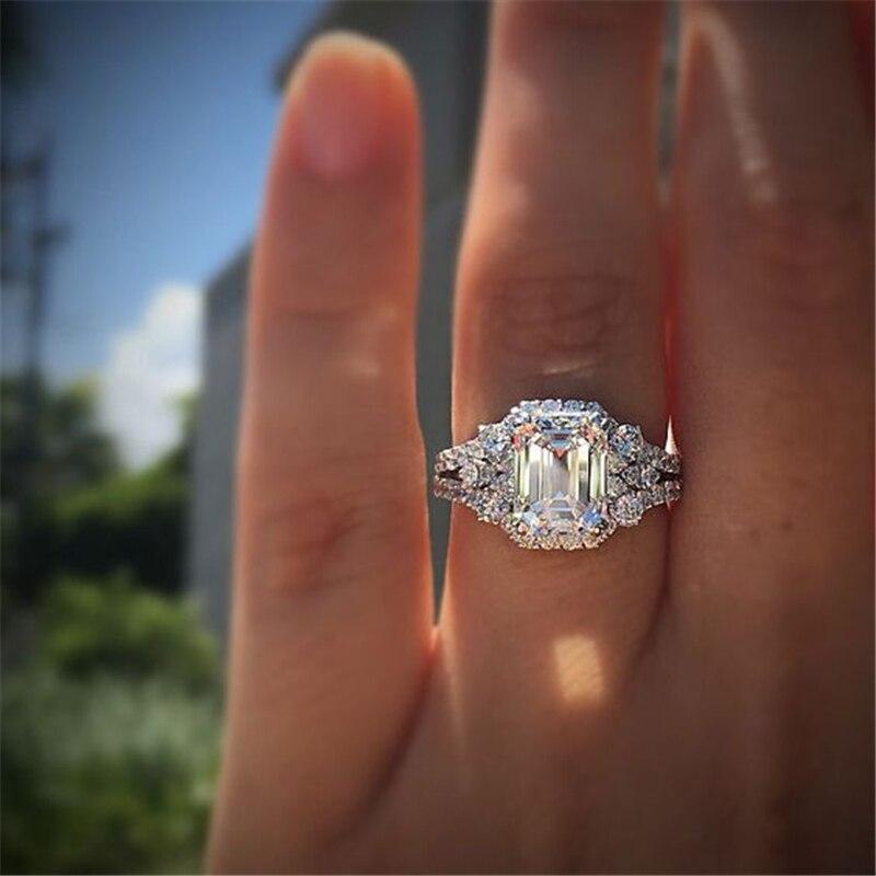 Square 2 Carat Diamond Jewelry S925 Sterling Silver Ring for Women Anillos Bizuteria Diamond Gemstone Silver 925 Jewelry Ring