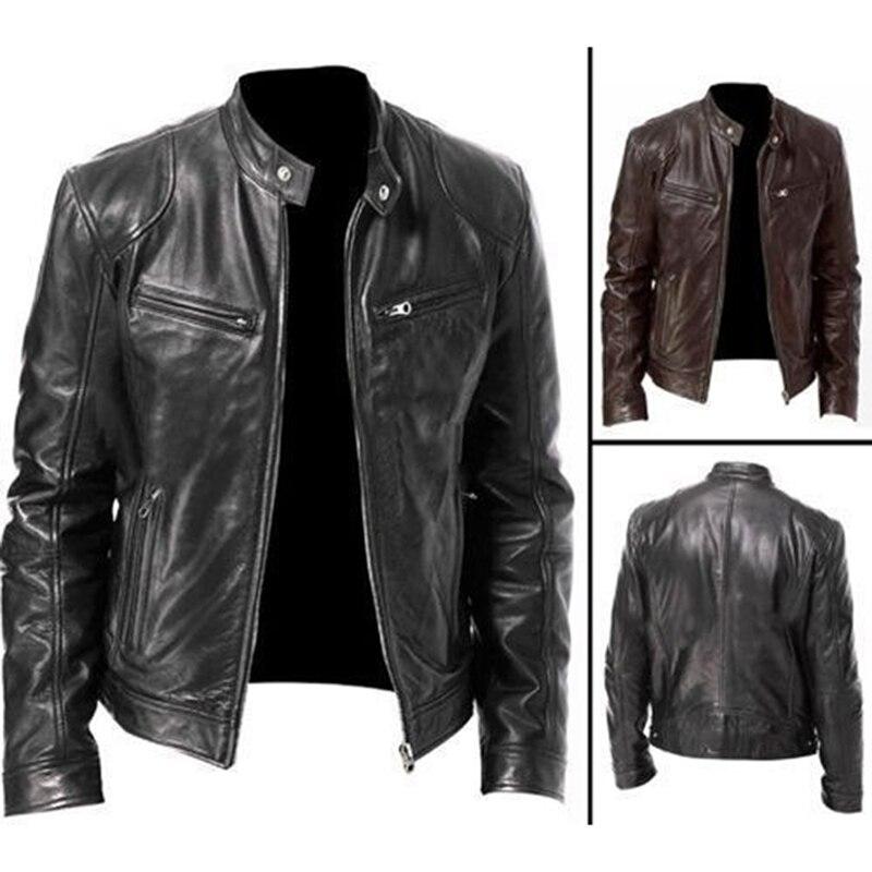 Autumn Winter Mens Leather Jacket Men Jackets Coats Stand Collar Zipper Black Motor Biker Jackets Motorcycle Leather Jacket Men