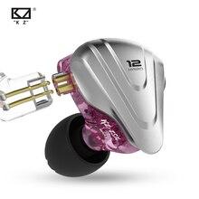 Kz zsx fone de ouvido 5ba + 1dd, fone de ouvido híbrido de hi fi com unidade de 6 drivers, fone de ouvido para monitorar corrida, esportes e auriculares iem palco 2pin zs10