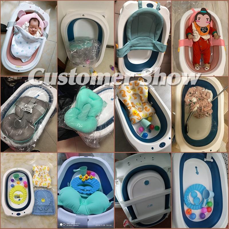 Baby Shining Folding Bath Tub 0-6Y Household Thickened Large Children Bathtub Newborn Bath Bucket Bath Net/Mat Free Accessories