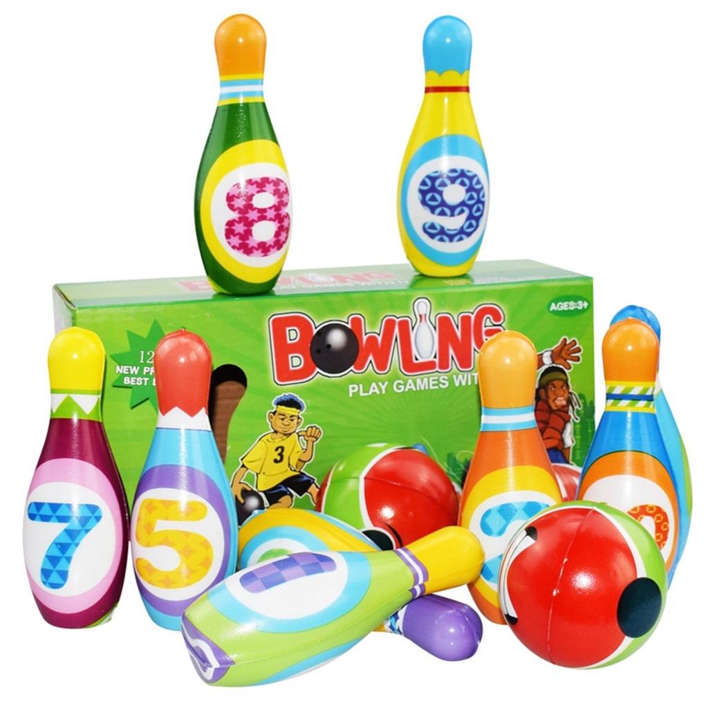 Conjunto de boliche brinquedo 10 colorido macio espuma pinos de boliche 2 bola brinquedos internos toss brinquedos para crianças aniversário presente natal