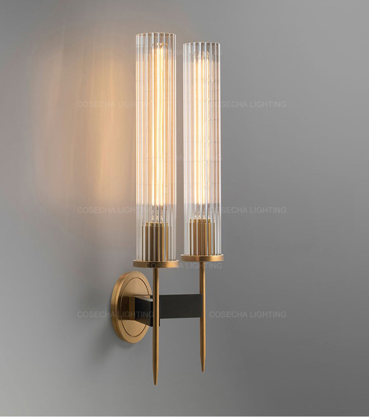 Ha286a4bf14a248c295601e72e103552ao - Antique brass wall lamp glass cylinder shade home indoor decorative wall lights in bedroom bedside wall mounted sconce interior