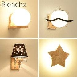 Blonche nowoczesna lampa ścienna drewniana ściana kinkiet lampy do salonu sypialnia korytarz domowe lampki dekoracyjne E27 oprawy oświetleniowe