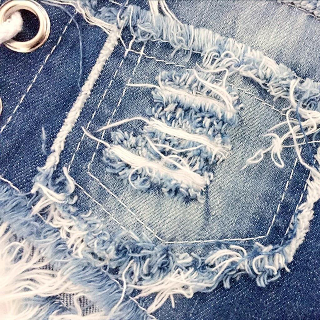 Ha286c9aa68714256a5b6565cc22ef9e9s 2019 womens skinny jeans Sexy high quality straight leg casual Bandage Button Denim Jeans Shorts Mini Hot Pants Elastic 19JUL26