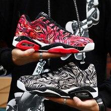 זוג נעליים בלעדי חדש לשני המינים סניקרס כדורסל נעלי גברים של נעליים יומיומיות צבעוני בד עיצוב גבוהה אלסטי אוויר כרית