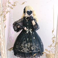 Gothic Style Lolita Dress Palace Double breasted Kawaii Dress Hot Stamping Medieval Anime Lolita Jsk Sleeveless Victorian Dress