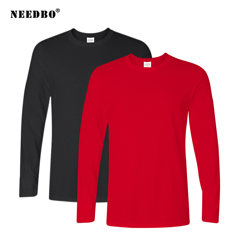 2Pcs/lot 2020 Spring Autumn 100% Cotton Long Sleeve T Shirt Men High Quality Solid Color O-Neck Tops Tees Big Size T Shirt Homme