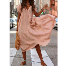 Summer Dress Women Casual Short Sleeve Plus Size Woman Dress Asymmetrical Ruffle V Neck Maxi Dresses for Women 2021 robe 5XL