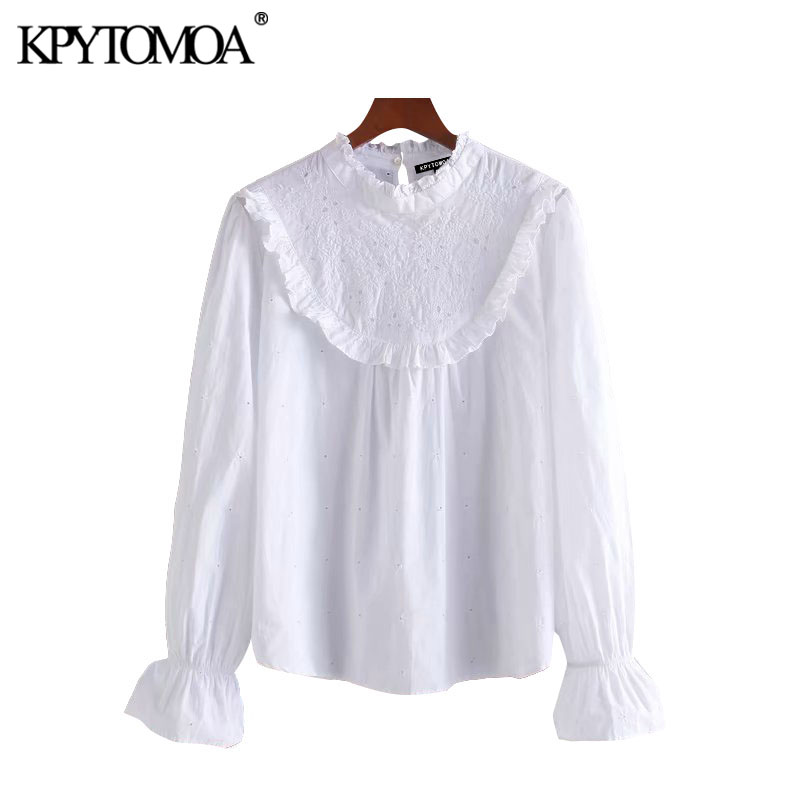 KPYTOMOA Women 2020 Sweet Fashion Hollow Out Embroidery Ruffled Blouses Vintage O Neck Long Sleeve Female Shirts Blusa Chic Tops