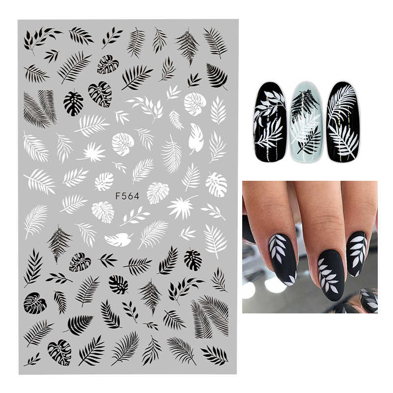 1PC Nail Sticker Geometric Love-Letters Leaf Flower Snowflake Nail Art Decal Manicure Decorations