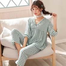 2 шт/компл пижамы 100% хлопок женская сексуальная Студенческая