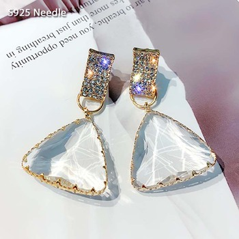 Real 925 Sterling Silver Needle Long Dangle Drop Earrings for Women Jewelry Triangular Crystal Female Charm - discount item  30% OFF Fine Jewelry