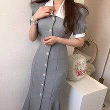Mujer de verano Vintage fajas de sirena, vestido de fiesta, vestido Sexy de manga de elegante estilo francés vestido nuevo
