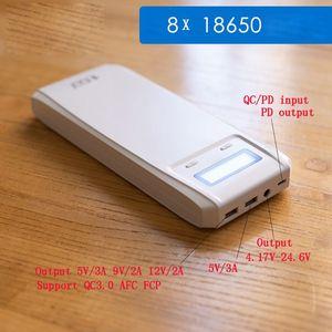 Image 5 - QD188 PD Dual USB QC 3.0 + Loại C PD Đầu Ra DC 8X18650 Pin DIY Power Bank Hộp Đựng ốp Lưng Sạc Nhanh (Không Pin)