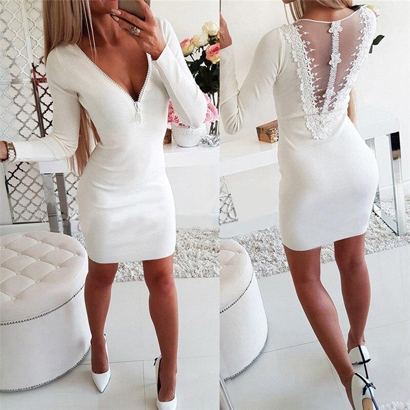 Для женщин однотонные Цвет длинный рукав вечерние платье Элегантные мини платье лоскутное кружевное платье с низким вырезом на спине