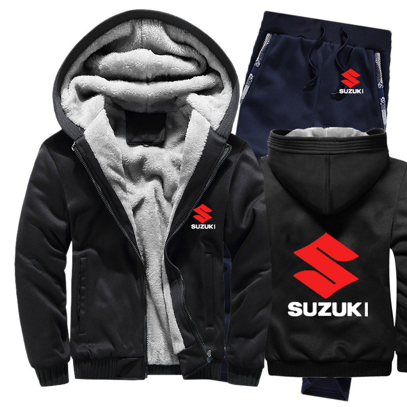 Hoodies Men Suzuki Car Logo Mens Hoodies Suit Winter Thicken Warm Fleece Cotton Zipper Tracksuit Mens Jacket+Pants 2Pcs Sets