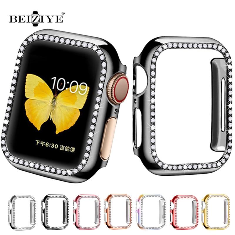 Чехол с бриллиантами для Apple Watch series 6 SE 5 4 3 2, защита для экрана, бампер, рамка для iwatch 38 мм 42 мм 40 мм 44 мм