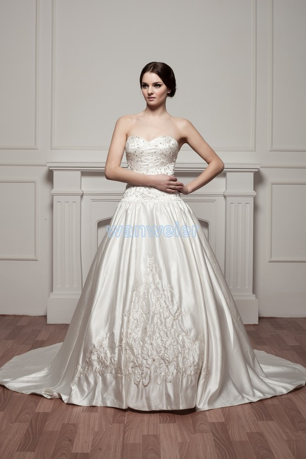 Free Shipping 2014 New Design Train Embroidery Actual Image Bridal Gown Good Quality Custom Size/color Ball Gown Wedding Dress