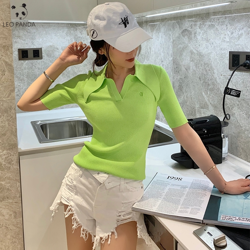 2020 Summer quality  ladies polo shirt women shorts short sleeve white solid cropped polo shirts mujer streetwear