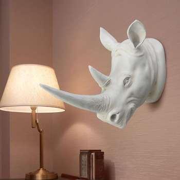 [MGT] żywica egzotyczny nosorożec głowa ozdoba białe figurki zwierząt rzemiosło domowy Hotel ozdoba na ścianę dekoracja prezent tanie i dobre opinie Allen Jame CN (pochodzenie) Europa FAIRY Żywica 34*28*18cm