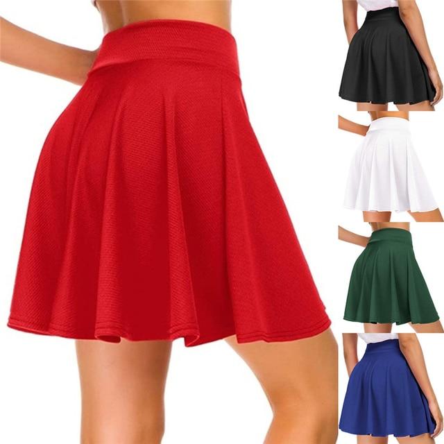 Women's Basic Versatile Stretchy Flared Casual Mini Skater Skirt Red Black Green Blue Short Skirt Plus Size 3XL 1