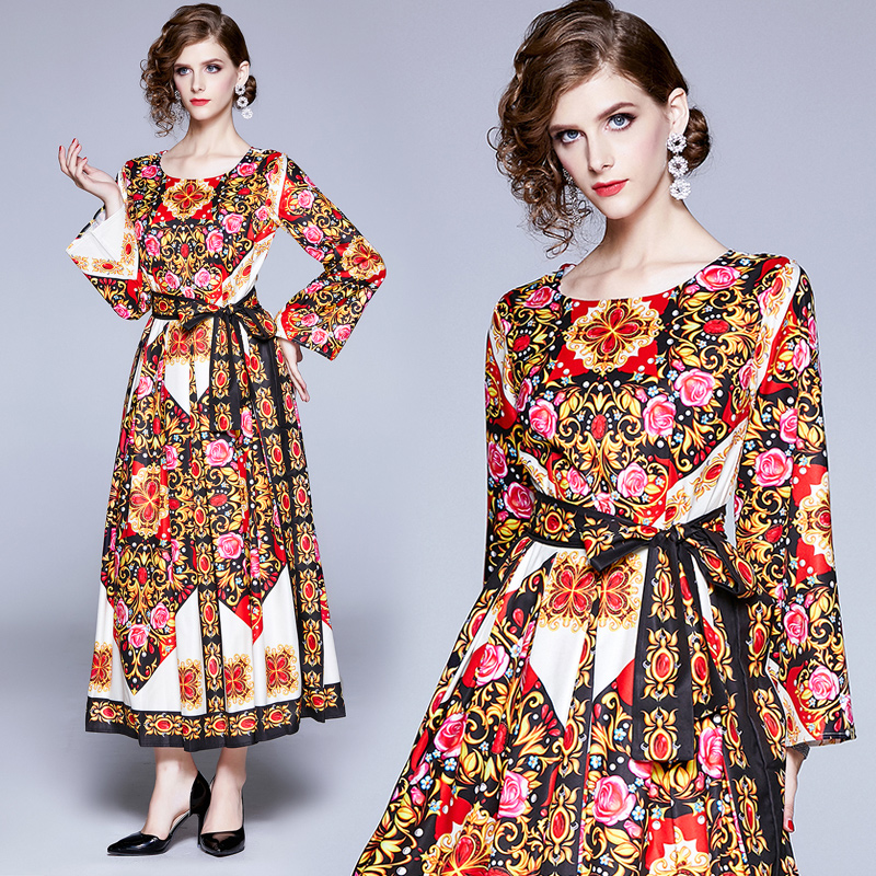 Banulin Spring Autumn Maxi Dresses Womens Long Sleeve Elegant Belt High Split Loose Printed Holiday Party Vintage Dress